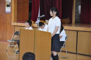 生徒会代表生徒の挨拶